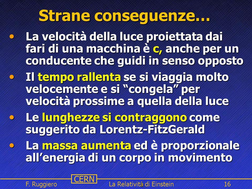 Name Event Date Name Event Date 16 CERN F. Ruggiero à La Relatività di Einstein16 Strane conseguenze… La velocit della luce proiettata dai fari di una