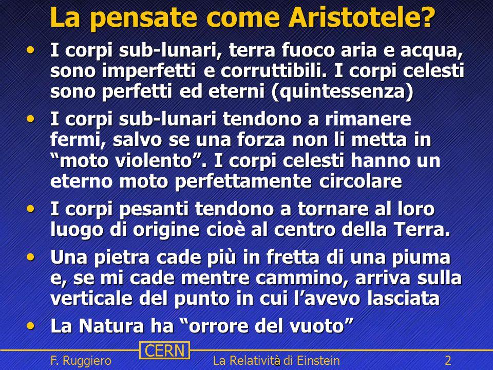 Name Event Date Name Event Date 2 CERN F. Ruggiero à La Relatività di Einstein2 La pensate come Aristotele? I corpi sub-lunari, terra fuoco aria e acq