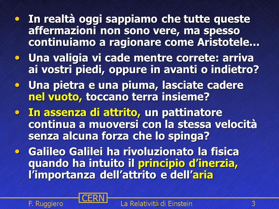 Name Event Date Name Event Date 3 CERN F. Ruggiero à La Relatività di Einstein3 In realt oggi sappiamo che tutte queste affermazioni non sono vere, ma