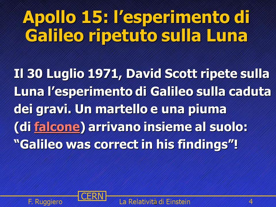 Name Event Date Name Event Date 4 CERN F. Ruggiero à La Relatività di Einstein4 Apollo 15: l'esperimento di Galileo ripetuto sulla Luna Il 30 Luglio 1