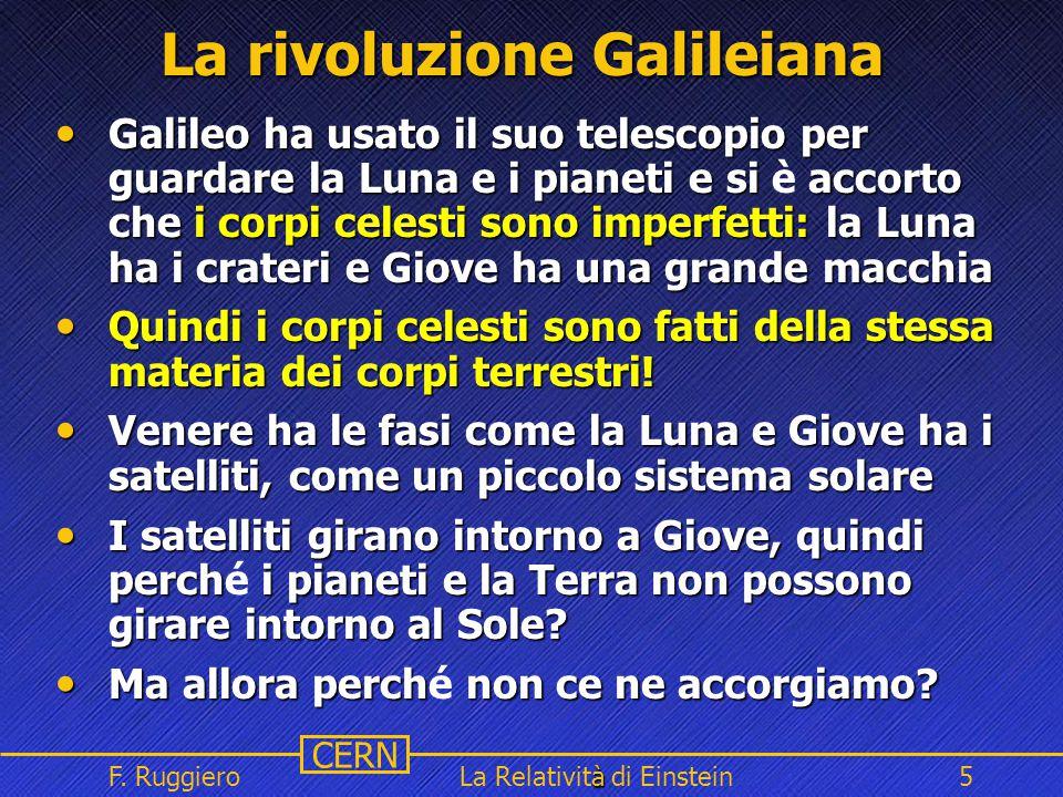 Name Event Date Name Event Date 5 CERN F. Ruggiero à La Relatività di Einstein5 La rivoluzione Galileiana Galileo ha usato il suo telescopio per guard