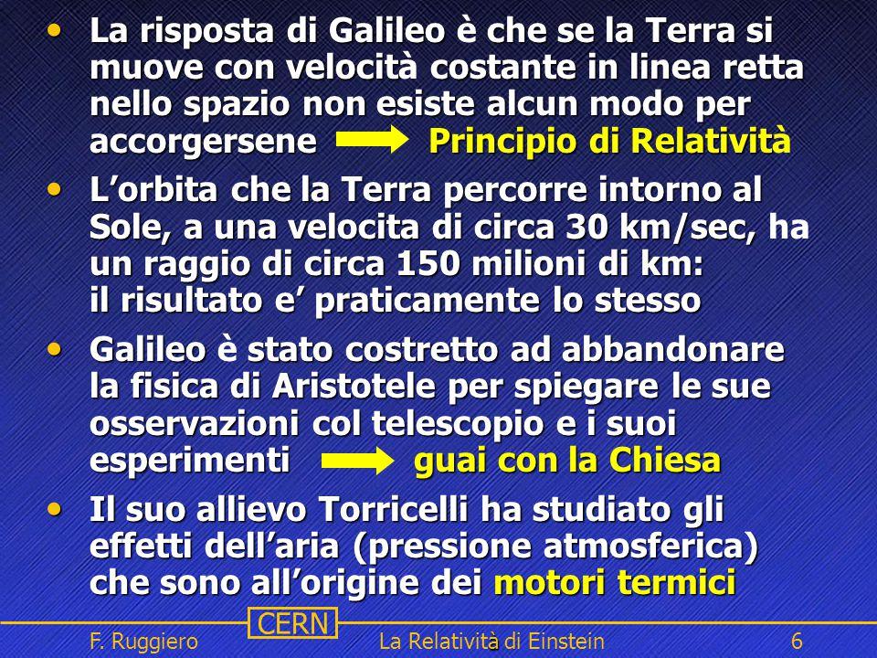 Name Event Date Name Event Date 6 CERN F. Ruggiero à La Relatività di Einstein6 La risposta di Galileo che se la Terra si muove con velocit costante i