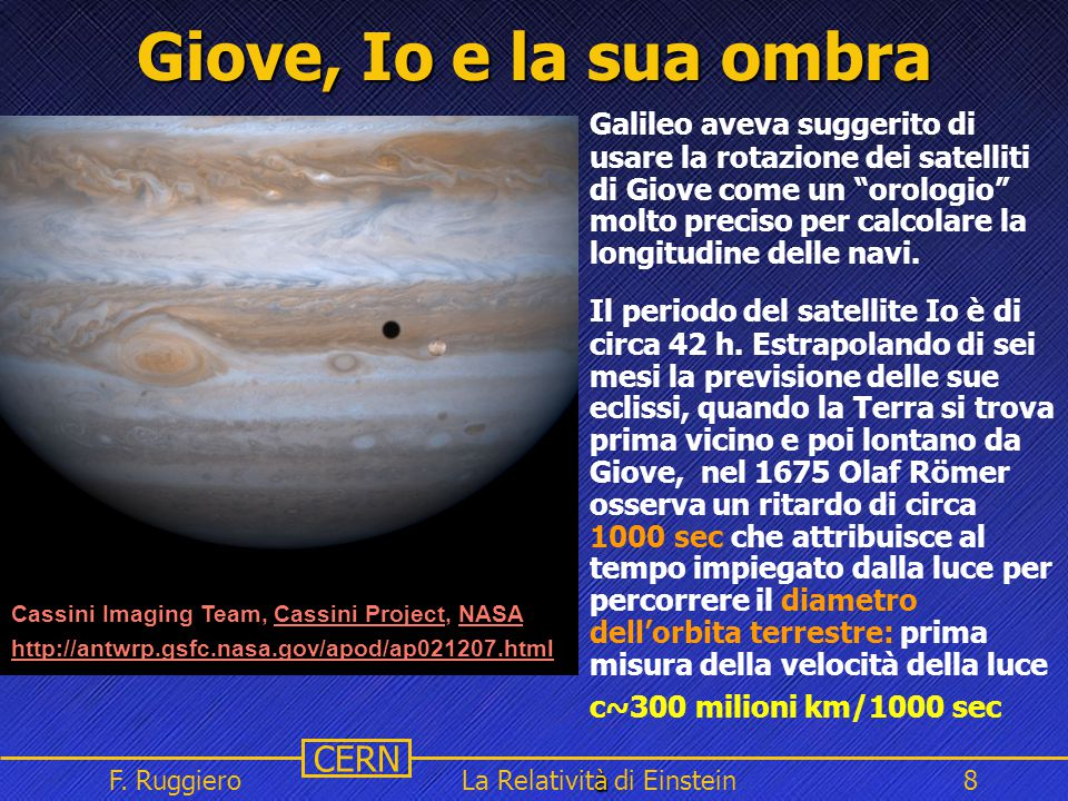 Name Event Date Name Event Date 8 CERN F. Ruggiero à La Relatività di Einstein8 Giove, Io e la sua ombra, Cassini Project, NASA Cassini Imaging Team,