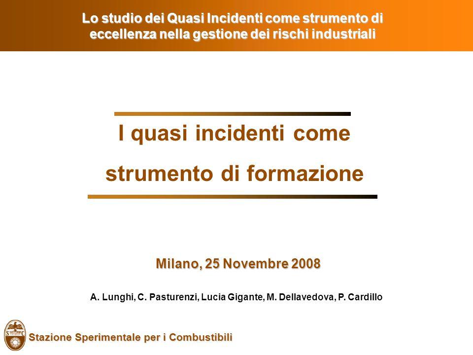Stazione Sperimentale per i Combustibili I quasi incidenti come strumento di formazione Milano, 25 Novembre 2008 Milano, 25 Novembre 2008 Lo studio dei Quasi Incidenti come strumento di eccellenza nella gestione dei rischi industriali A.