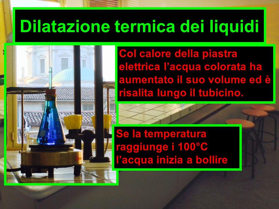 Dilatazione termica dei liquidi Col calore della piastra elettrica l'acqua colorata ha aumentato il suo volume ed è risalita lungo il tubicino. Se la