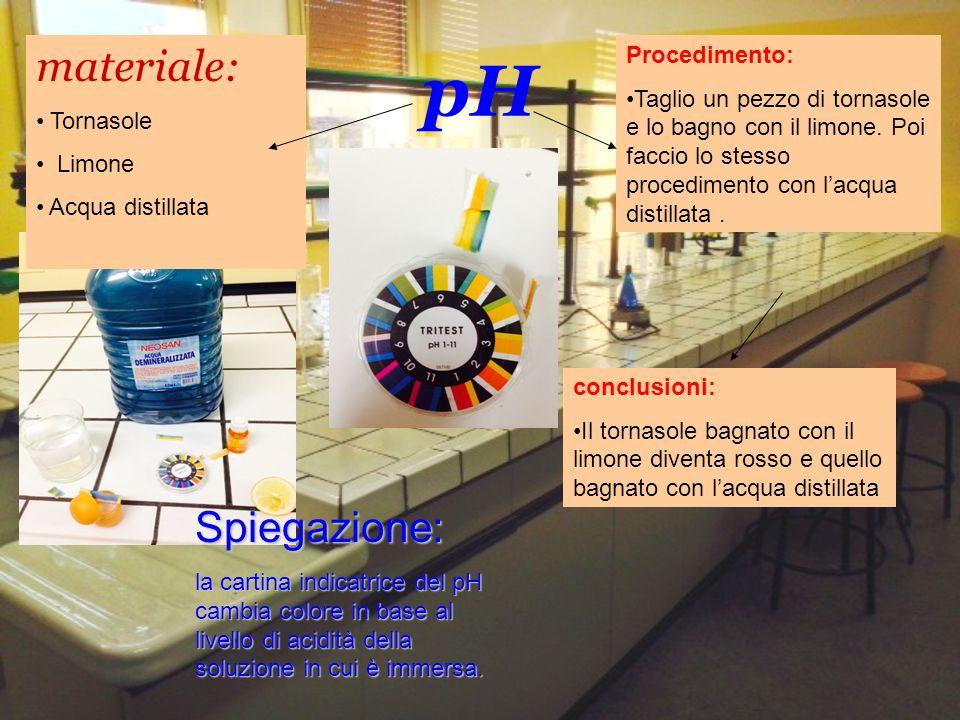 pH materiale: Tornasole Limone Acqua distillata Procedimento: Taglio un pezzo di tornasole e lo bagno con il limone. Poi faccio lo stesso procedimento