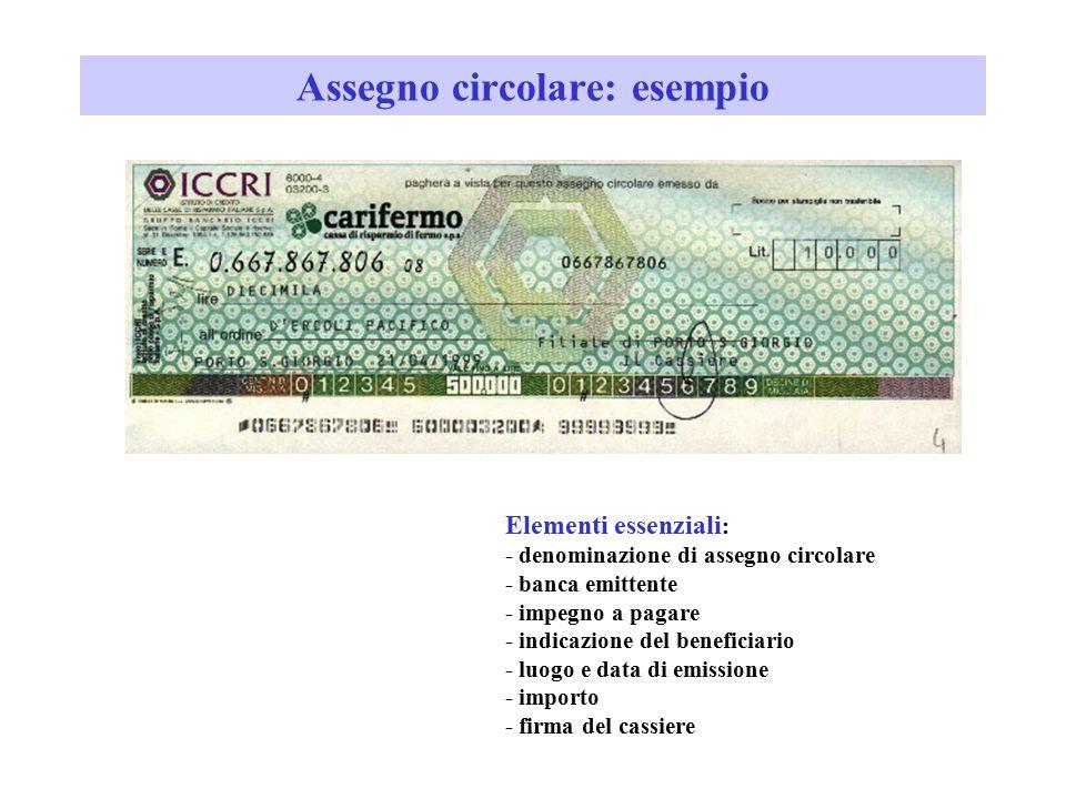 Assegno circolare: esempio Elementi essenziali : - denominazione di assegno circolare - banca emittente - impegno a pagare - indicazione del beneficia