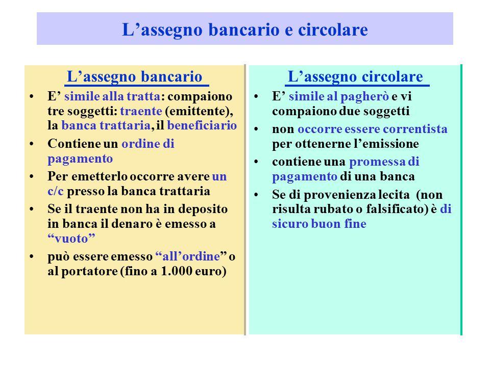 L'assegno bancario e circolare L'assegno bancario E' simile alla tratta: compaiono tre soggetti: traente (emittente), la banca trattaria, il beneficia