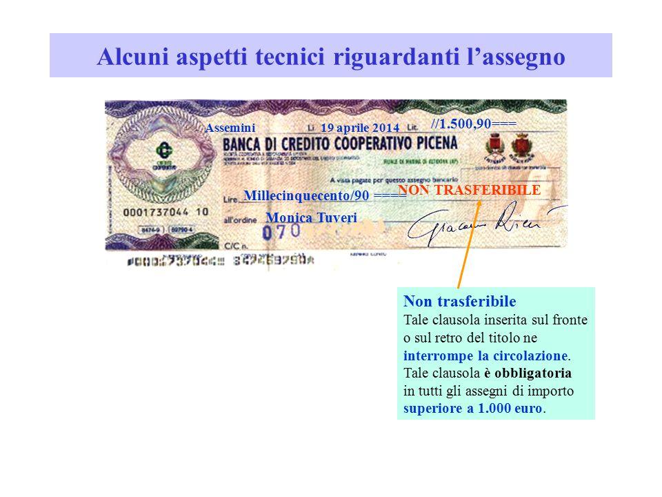 Alcuni aspetti tecnici riguardanti l'assegno //1.500,90=== Millecinquecento/90 ==== Monica Tuveri Assemini19 aprile 2014 Non trasferibile Tale clausol