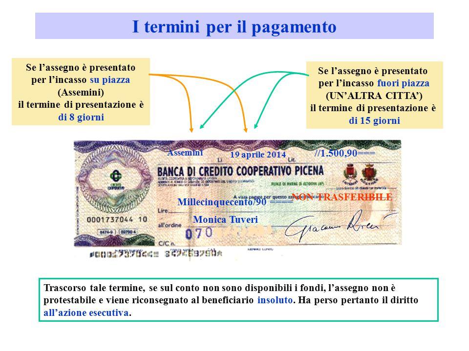I termini per il pagamento Millecinquecento/90 ==== Monica Tuveri Assemini 19 aprile 2014 Se l'assegno è presentato per l'incasso su piazza (Assemini)