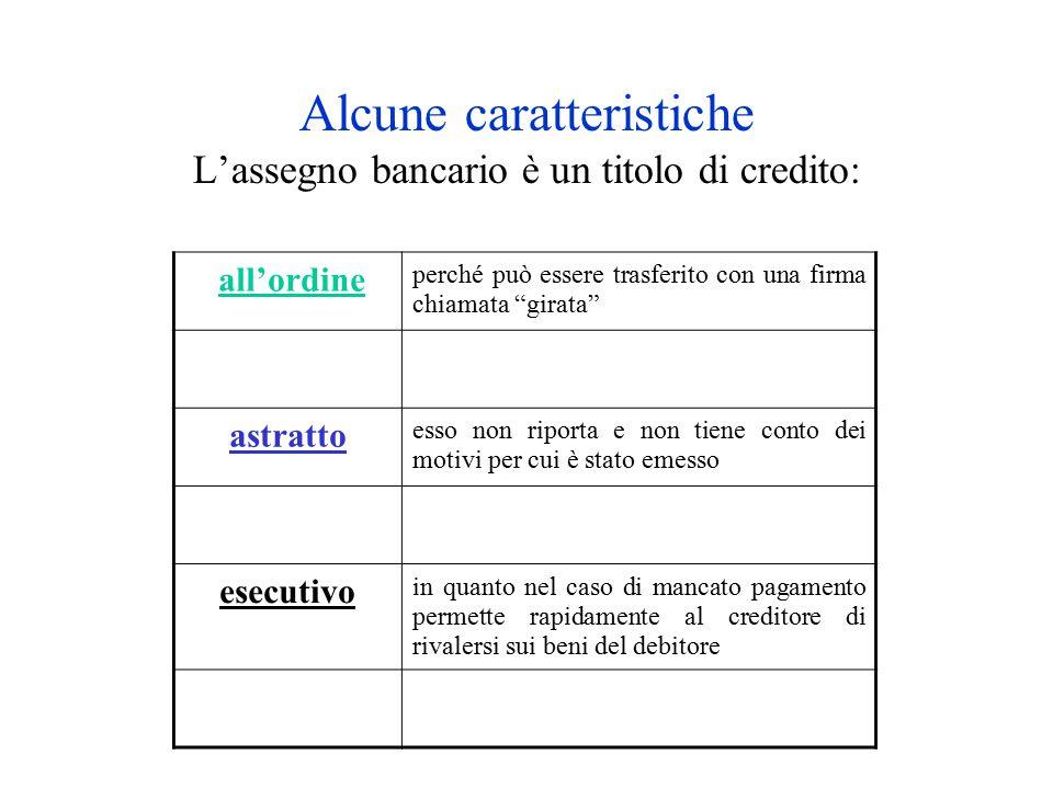 """Alcune caratteristiche L'assegno bancario è un titolo di credito: all'ordine perché può essere trasferito con una firma chiamata """"girata"""" astratto ess"""