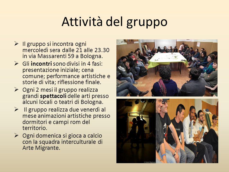 Attività del gruppo  Il gruppo si incontra ogni mercoledì sera dalle 21 alle 23.30 in via Massarenti 59 a Bologna.  Gli incontri sono divisi in 4 fa
