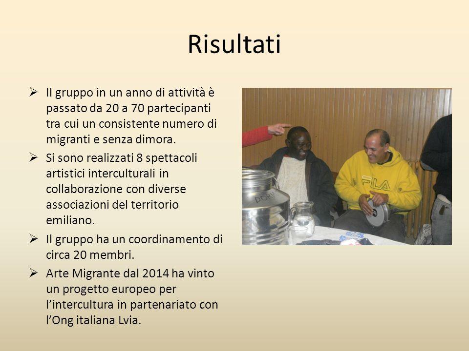 Risultati  Il gruppo in un anno di attività è passato da 20 a 70 partecipanti tra cui un consistente numero di migranti e senza dimora.  Si sono rea