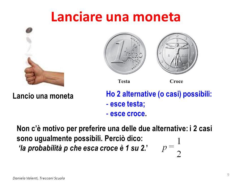 Daniela Valenti, Treccani Scuola 10 Lanciare un dado Lancio un dado Ho 6 alternative possibili Non c'è motivo per preferire una delle alternative: i 6 casi sono ugualmente possibili.