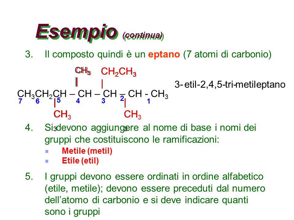 Un esempio Cerchiamo di dare un nome all'idrocarburo disegnato sotto CH 3 CH 2 CH – CH – CH – CH - CH 3 | CH 3 | CH 3 CH 2 CH 3 | 1.Si deve trovare la