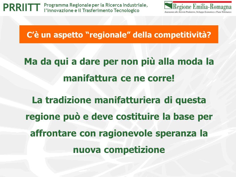 """Programma Regionale per la Ricerca Industriale, l'Innovazione e il Trasferimento Tecnologico PRRIITT C'è un aspetto """"regionale"""" della competitività? M"""