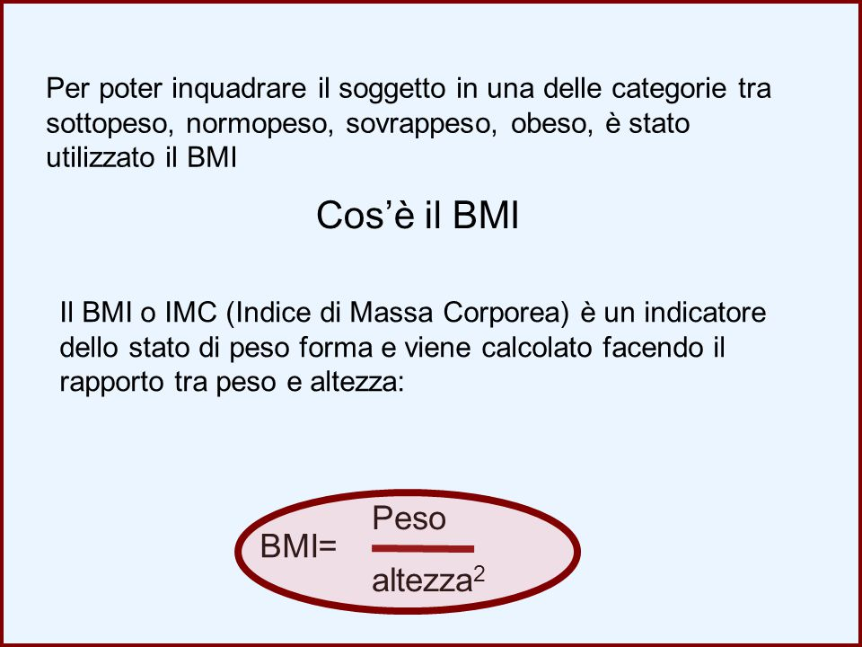 E' possibile classificare il BMI in 4 classi BMI < 18 sottopeso BMI tra 25 e 30 sovrappeso BMI tra 18 e 25 normopeso BMI > 30 obeso Intero campione MaschiFemmine Sottopeso 3,4%0,8%6,0% Normopeso 54,4%45,8%63,1% Sovrappes o 32,3%42,7%21,8% Obeso 9,9%10,7%9,1% La popolazione della provincia di Como risulta essere così distribuita: