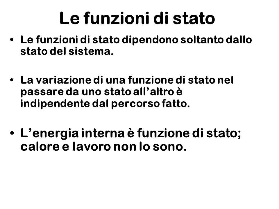 Le funzioni di stato Le funzioni di stato dipendono soltanto dallo stato del sistema. La variazione di una funzione di stato nel passare da uno stato