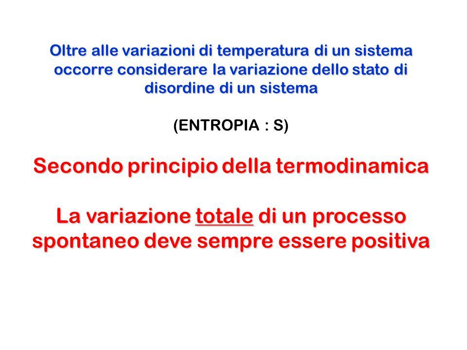 Oltre alle variazioni di temperatura di un sistema occorre considerare la variazione dello stato di disordine di un sistema (ENTROPIA : S) Secondo pri