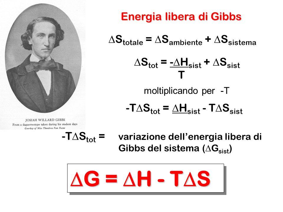 Energia libera di Gibbs  S totale =  S ambiente +  S sistema  S tot = -  H sist +  S sist T moltiplicando per -T -T  S tot =  H sist - T  S s