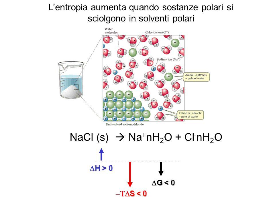 NaCl (s)  Na + nH 2 O + Cl - nH 2 O  H > 0  S < 0  G < 0 L'entropia aumenta quando sostanze polari si sciolgono in solventi polari