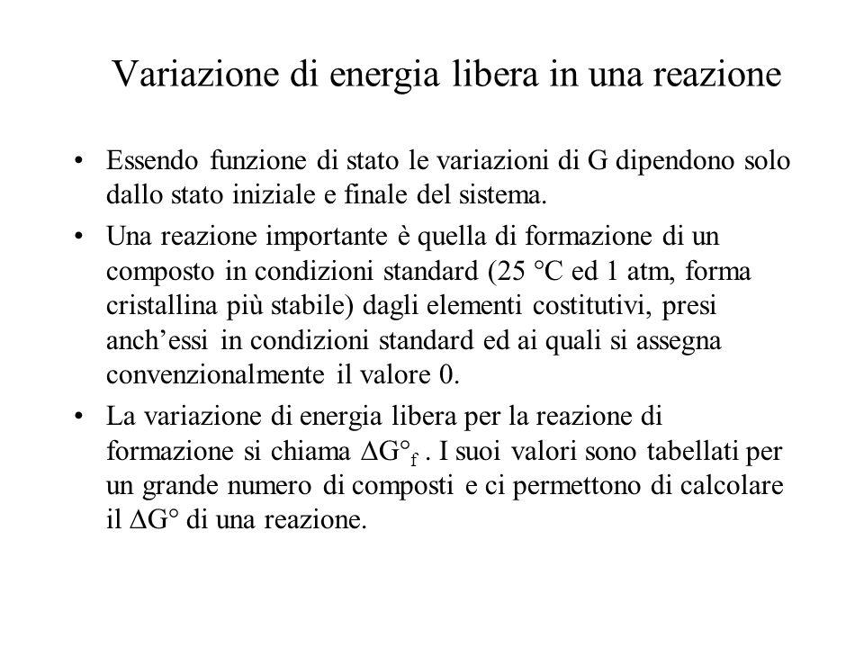 Variazione di energia libera in una reazione Essendo funzione di stato le variazioni di G dipendono solo dallo stato iniziale e finale del sistema. Un