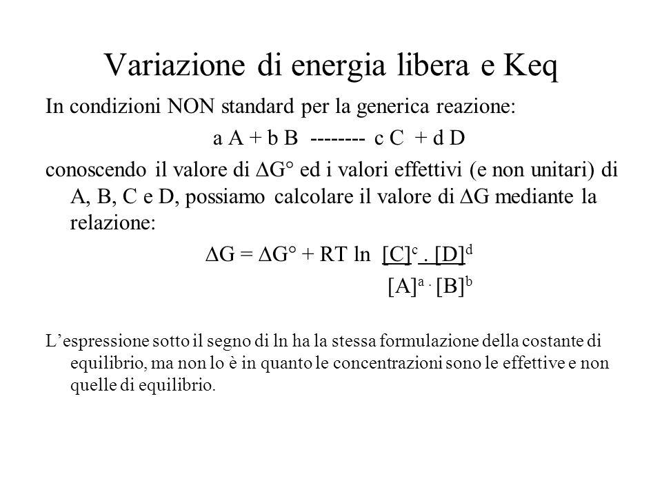 Variazione di energia libera e Keq In condizioni NON standard per la generica reazione: a A + b B -------- c C + d D conoscendo il valore di  G° ed i