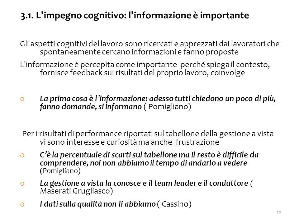 Gli aspetti cognitivi del lavoro sono ricercati e apprezzati dai lavoratori che spontaneamente cercano informazioni e fanno proposte L'informazione è percepita come importante perché spiega il contesto, fornisce feedback sui risultati del proprio lavoro, coinvolge oLa prima cosa è l'informazione: adesso tutti chiedono un poco di più, fanno domande, si informano ( Pomigliano) Per i risultati di performance riportati sul tabellone della gestione a vista vi sono interesse e curiosità ma anche frustrazione oC'è la percentuale di scarti sul tabellone ma il resto è difficile da comprendere, noi non abbiamo il tempo di andarlo a vedere (Pomigliano) oLa gestione a vista la conosce e il team leader e il conduttore ( Maserati Grugliasco) oI dati sulla qualità non li abbiamo ( Cassino) 3.1.