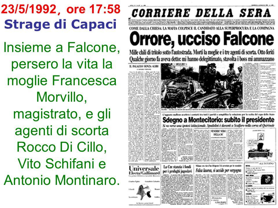 23/5/1992, ore 17:58 Strage di Capaci Insieme a Falcone, persero la vita la moglie Francesca Morvillo, magistrato, e gli agenti di scorta Rocco Di Cillo, Vito Schifani e Antonio Montinaro.