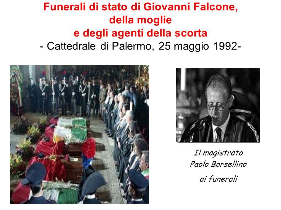 Funerali di stato di Giovanni Falcone, della moglie e degli agenti della scorta - Cattedrale di Palermo, 25 maggio 1992- Il magistrato Paolo Borsellin