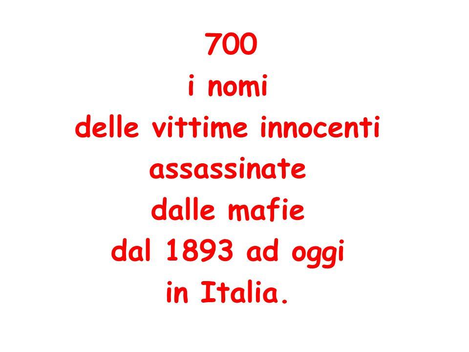 700 i nomi delle vittime innocenti assassinate dalle mafie dal 1893 ad oggi in Italia.