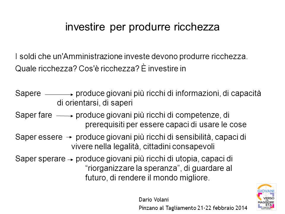 investire per produrre ricchezza I soldi che un Amministrazione investe devono produrre ricchezza.