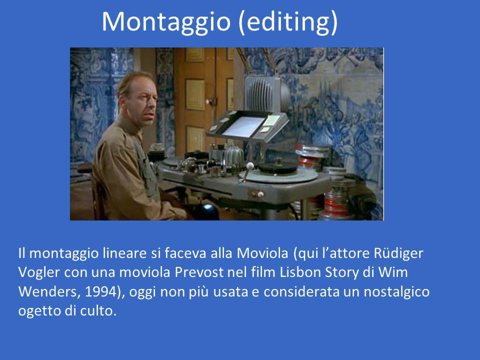 Montaggio (editing) Il montaggio lineare si faceva alla Moviola (qui l'attore Rüdiger Vogler con una moviola Prevost nel film Lisbon Story di Wim Wenders, 1994), oggi non più usata e considerata un nostalgico ogetto di culto.