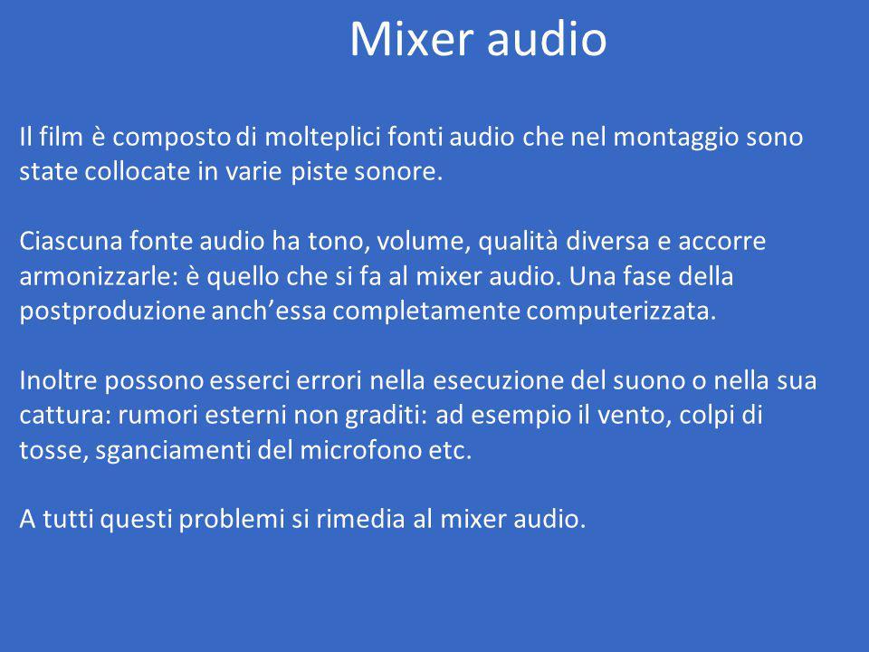 Mixer audio Il film è composto di molteplici fonti audio che nel montaggio sono state collocate in varie piste sonore.