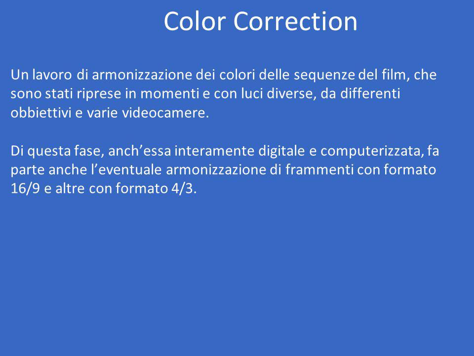 Color Correction Un lavoro di armonizzazione dei colori delle sequenze del film, che sono stati riprese in momenti e con luci diverse, da differenti obbiettivi e varie videocamere.
