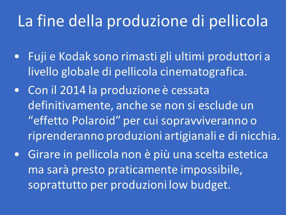 La fine della produzione di pellicola Fuji e Kodak sono rimasti gli ultimi produttori a livello globale di pellicola cinematografica.