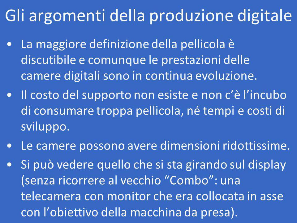 Gli argomenti della produzione digitale La maggiore definizione della pellicola è discutibile e comunque le prestazioni delle camere digitali sono in continua evoluzione.