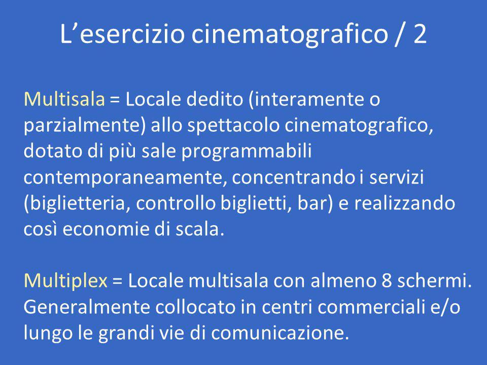 L'esercizio cinematografico / 2 Multisala = Locale dedito (interamente o parzialmente) allo spettacolo cinematografico, dotato di più sale programmabili contemporaneamente, concentrando i servizi (biglietteria, controllo biglietti, bar) e realizzando così economie di scala.
