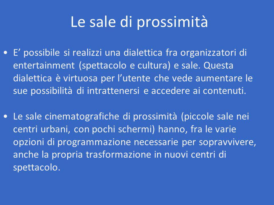 E' possibile si realizzi una dialettica fra organizzatori di entertainment (spettacolo e cultura) e sale.