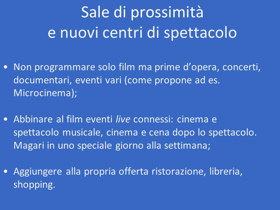 Non programmare solo film ma prime d'opera, concerti, documentari, eventi vari (come propone ad es.