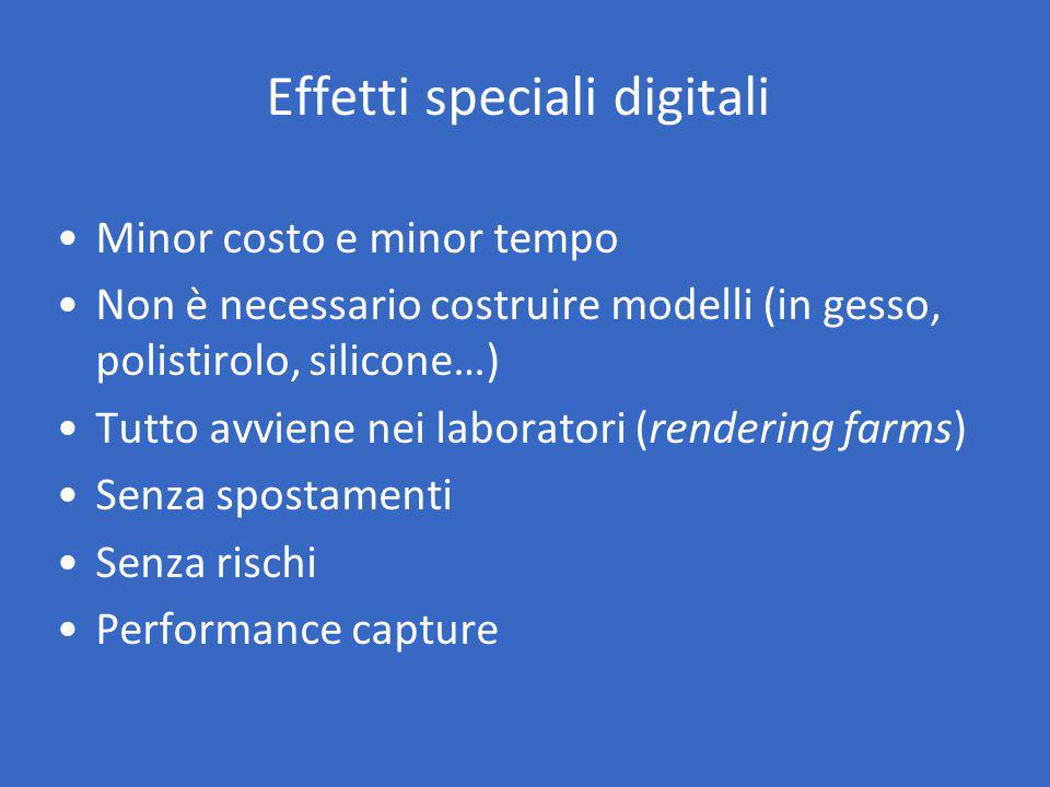 Effetti speciali digitali Minor costo e minor tempo Non è necessario costruire modelli (in gesso, polistirolo, silicone…) Tutto avviene nei laboratori (rendering farms) Senza spostamenti Senza rischi Performance capture