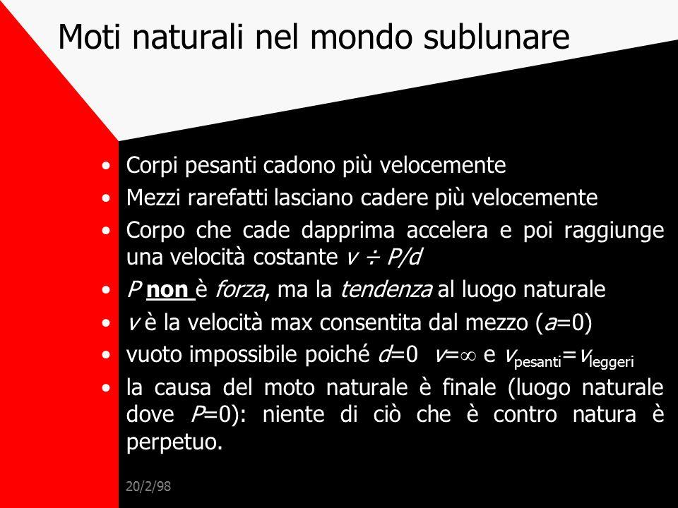 20/2/98 Moti naturali celesti Stabilità dei cieli (periodicità) e perfezione della circonferenza  Moti celesti perfetti  Dualismo moti  Dualismo mo