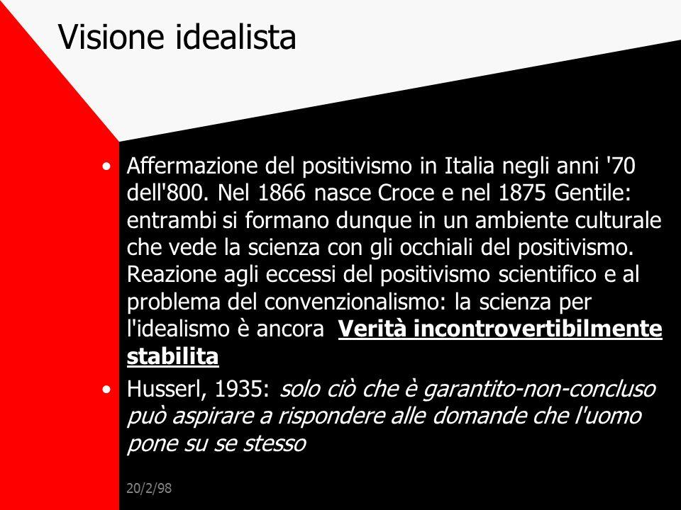 20/2/98 Visione positivista Scienza = Verità incontrovertibilmente stabilita, l'unico campo della conoscenza umana con queste caratteristiche e dunque