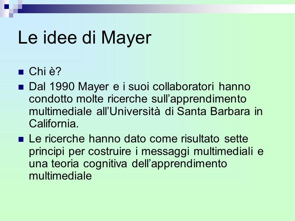Le idee di Mayer Chi è? Dal 1990 Mayer e i suoi collaboratori hanno condotto molte ricerche sull'apprendimento multimediale all'Università di Santa Ba