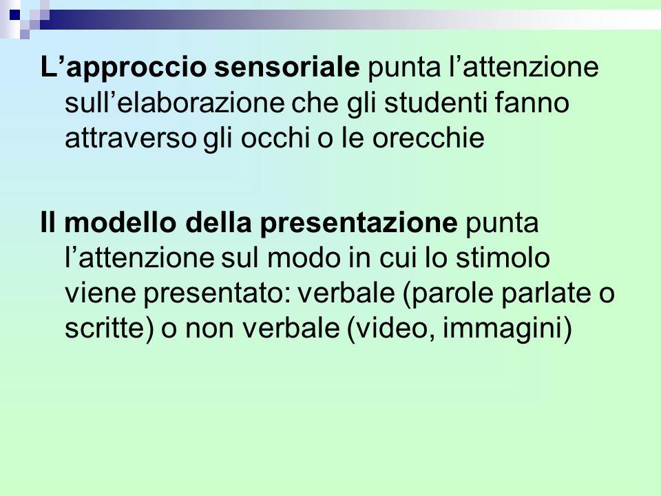 L'approccio sensoriale punta l'attenzione sull'elaborazione che gli studenti fanno attraverso gli occhi o le orecchie Il modello della presentazione p