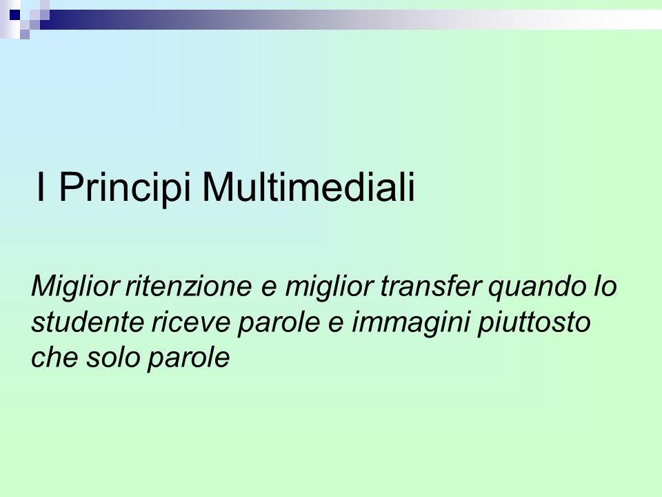 I Principi Multimediali Miglior ritenzione e miglior transfer quando lo studente riceve parole e immagini piuttosto che solo parole
