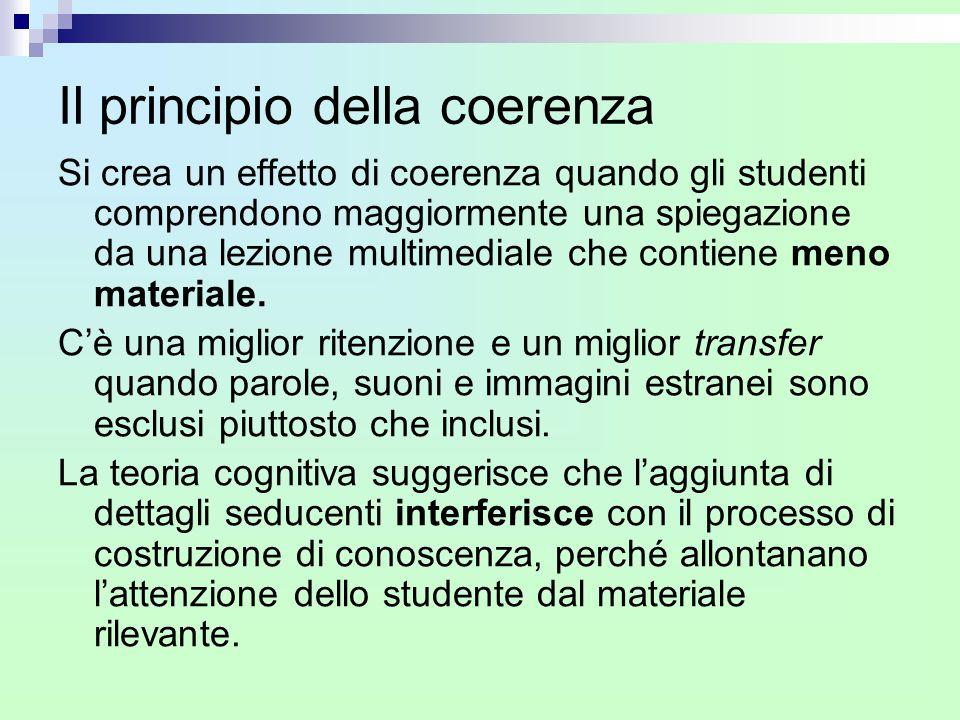 Il principio della coerenza Si crea un effetto di coerenza quando gli studenti comprendono maggiormente una spiegazione da una lezione multimediale ch