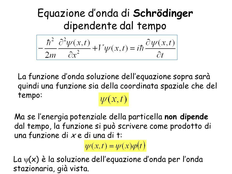 Equazione d'onda di Schrödinger dipendente dal tempo Ma se l'energia potenziale della particella non dipende dal tempo, la funzione si può scrivere come prodotto di una funzione di x e di una di t: La  (x) è la soluzione dell'equazione d'onda per l'onda stazionaria, già vista.