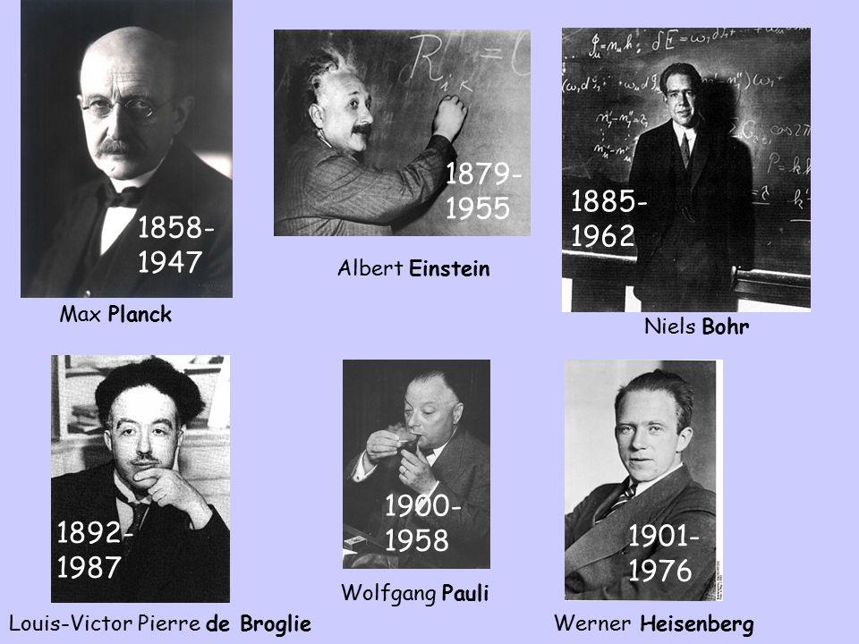 Wolfgang Pauli 1900- 1958 Werner Heisenberg 1901- 1976 Max Planck 1858- 1947 Niels Bohr 1885- 1962 Louis-Victor Pierre de Broglie 1892- 1987 Albert Einstein 1879- 1955