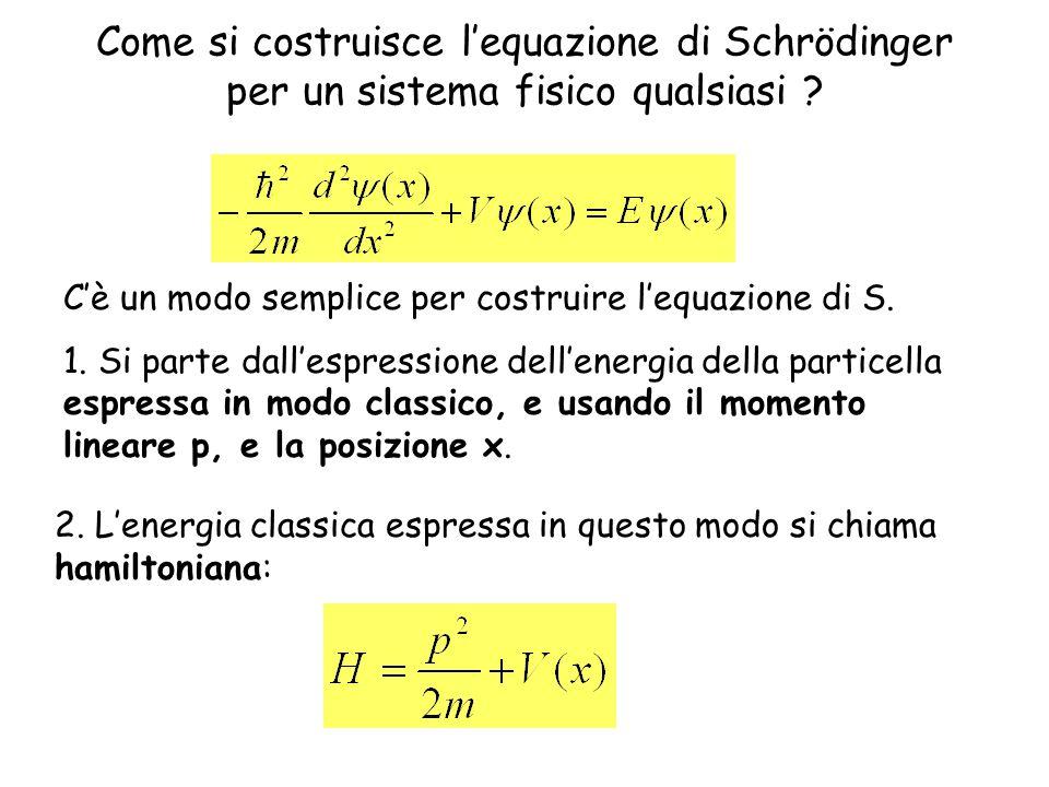 Come si costruisce l'equazione di Schrödinger per un sistema fisico qualsiasi .